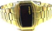 Mens Vintage Longines Wittnauer Polara 14k Gold Plate Red Led Watch With Box