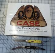 """Lot Of 2 Vintage Case Knives- 1 Stockman And 1 Trapper, W/ Book """"case The First"""