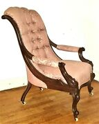 Victorian Library Armchair Mahogany Comfortable-lolling England C1850 38t