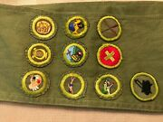 Vintage Boy Scout Merit Badge Sash With 10 Badges 1960 + Type E And F Sash 13