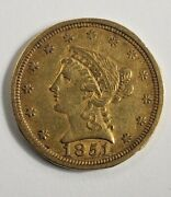 1851 /1851 O Double Date Gold New Orleans 2 1/2 Dollar Liberty Quarter Eagle