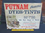 Vtg Putnam Fadless Dyes Wood Display Box W/ Approx. 150 Packs Of Unused Dyes