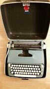 Smith Corona 1970 Super Sterling Typewriter Blue W/case+ribbon - Works Perfectly