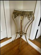 Antique Vintage Victorian Cast Iron Plant Fern Stand Ornate Table Marble Brass