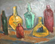 Vintage Oil Painting Still Life With Vases And Bottles