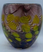 Murano Art Glass Vase Circa 1960 Brown Yellow Blue And Clear