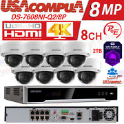 Hikvision Security System 8ch 8poe 4mp 3tb Hdd Home Camera Kit 3axis H265+