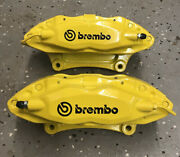 Ford Mustang Brembo Yellow Front Lh/rh Powdercoated Calipers White Or Black Logo