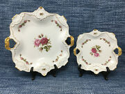 2 Lot Kaiser Moosrose Plates Square Gold Trim 12 And 8.25 West Germany Mint