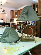Pair Of Fully Lined green Silk Fabric Lamp Shades 11 Tall 15 Wide X 5