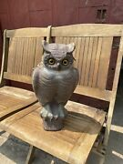 Vintage Victor Owl Paper Mache Decoy Hunting 1940and039s/1950andrsquos Halloween Country