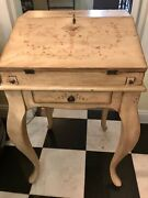 Antique Vintage Country French Queen Anne Style Drop Front Small Desk