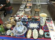 Lot Items In Storage .clocks,records,stereo Console,antique Glassware Much Mor