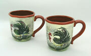 2 Certified International Susan Winget Le Rooster Large Mugs D - Excell. Cond.