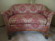 Vintage Antique Loveseat Settee-carved Wood-ethan Allen Upholstery-46 Wide