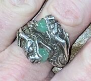 Vintage Antique Chinese Export Sterling Silver Jade Dragon Ring Sz 12.5