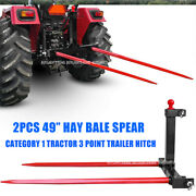 2x49 3 Point Hay Bale Spear Trailer Hitch Receiver Cat 1 Tractor Gooseneck Ball