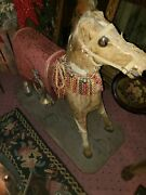 Antique Hair On Hide Pull Toy Horse