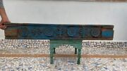 Antique Wood Handcrafted Fine Carved Floral Design Blue Painted Door Wall Panel
