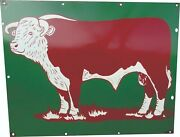 Porcelain Herford Bull Farm Enamel Sign 30 X 30 Inches Double Sided