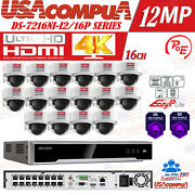 Hikvision Security System 12mp Nvr 16ch Poe 4mp 3axis H265+ Hdd Optional