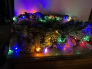 Bethlehem Lights 9and039 Flocked Multicolor Lighted Garland Mantel Christmas Red Bow