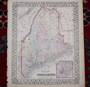 State Of Maine Me In Counties Rare Original Antique 1870 Mitchell's Atlas Map