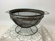Vintage Farmhouse 2 Pc Flour Screen Sifter Bowl And Stand