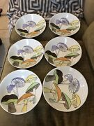 6 Ernestine Pottery Salerno Italy Rare Mushroom Pattern 791 7andrdquo Coupe Soup Bowls