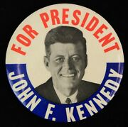 1961 John F. Kennedy For President Campaign 3.5 Pinback Button