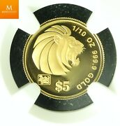 2000 Gold Singapore 20 Dollar 1/10 Oz Lunar Year Of The Dragon Coin Ngc Pf70
