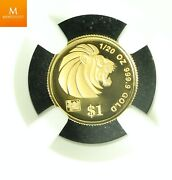 2000 Gold Singapore 20 Dollar 1/20 Oz Lunar Year Of The Dragon Coin Ngc Pf70