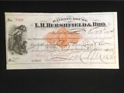 U.s Rnd7 Used Check 1874 L.h. Hershfield And Bro Helena Mt Payable In Gold