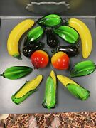 Murano Style Glass Fruit And Vegetables Set Of 15