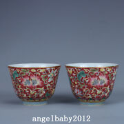 2.7 China Porcelain Qing Dynasty Qianlong Mark A Pair Famille Rose Lotus Teacup