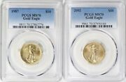 1987 And 2002 10 Gold Eagle Pcgs Ms70 Low Pop 34 And 42 Coins Low Mintage