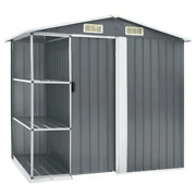Vidaxl Garden Shed With Rack Iron Outdoor Storage Building House Multi Colors