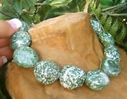 Christmas Gift Tree Line Agate Gem Necklace Jade Green Cream White Color Speckle