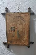 Rare Antique 19th Century French Triptych Mirror Trifold Wall Hanging Mirror