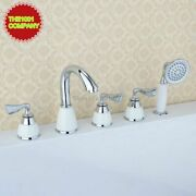 Bathtub Faucet With Handheld Shower Waterfall Chrome 3 Handle Mixer Deck Mounted