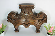 Antique French Wood Carved Relic Holder Pediment Lion Paws Rare