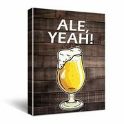Ale Yeah Funny Beer Vintage Wooden Canvas Wall Art Bar Decorations Beer Signs...