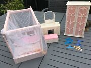Vintage 1980s Sindy Four Poster Bed Wardrobe Dressing Table And Ottoman Set