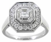 Solid Real Natural Halo Diamond 18k White Gold 1.00ct Emerald Cut Ring Jewelry
