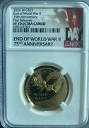 2020 End Of World War Ii 75th Anniversary W 25 Gold Medal Pf70 Ultra Cameo Fr