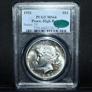 1921 1 Peace Silver Dollar ✪ Pcgs Ms-64 Cac ✪ S1 Choice Uncirculated ◢trusted◣