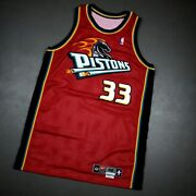 100 Authentic Grant Hill Vintage Nike 99 00 Detroit Pistons Game Jersey