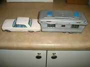 Vintage 1950s Ford Fairlane 138 W/ Trailer Tin Toy Rare Sss Japan Trailer Hitch