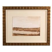 Larry Horowitz Sepia March Watercolor On Paper Frame 14.25 X 17.5