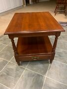 Vintage Pennsylvania House Original Solid Cherry End Table With Shelf And Drawer